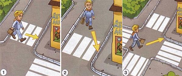 Рассмотри рисунки. На каком рисунке пешеход правильно пересекает проезжую часть?