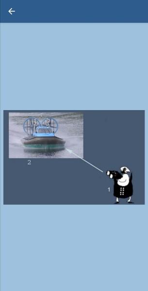 24.Укажите, какие огни может увидеть наблюдатель (1) на судне (2) в тмное время суток в условиях хорошей видимости и взаимного расположения судов,указанного на рисунке. Судно (2) на воздушной подушке на ходу в неводоизмещающем состоянии
