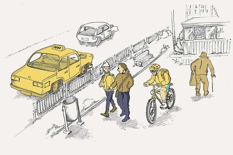 Движение на велосипедах по тротуарам и пешеходным дорожкам: