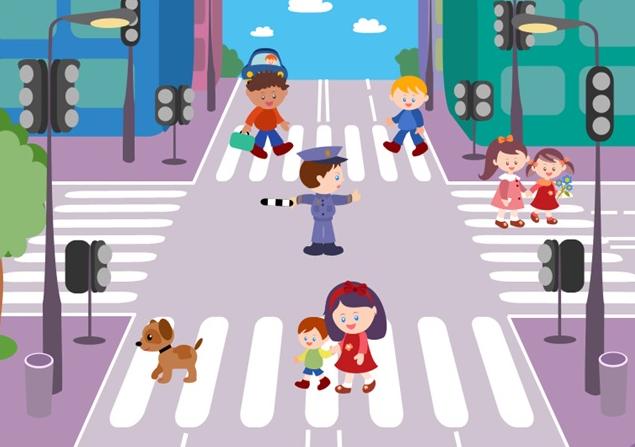 На картинке изображена некоторая ситуация. Как пешеходам следует переходить проезжую часть?