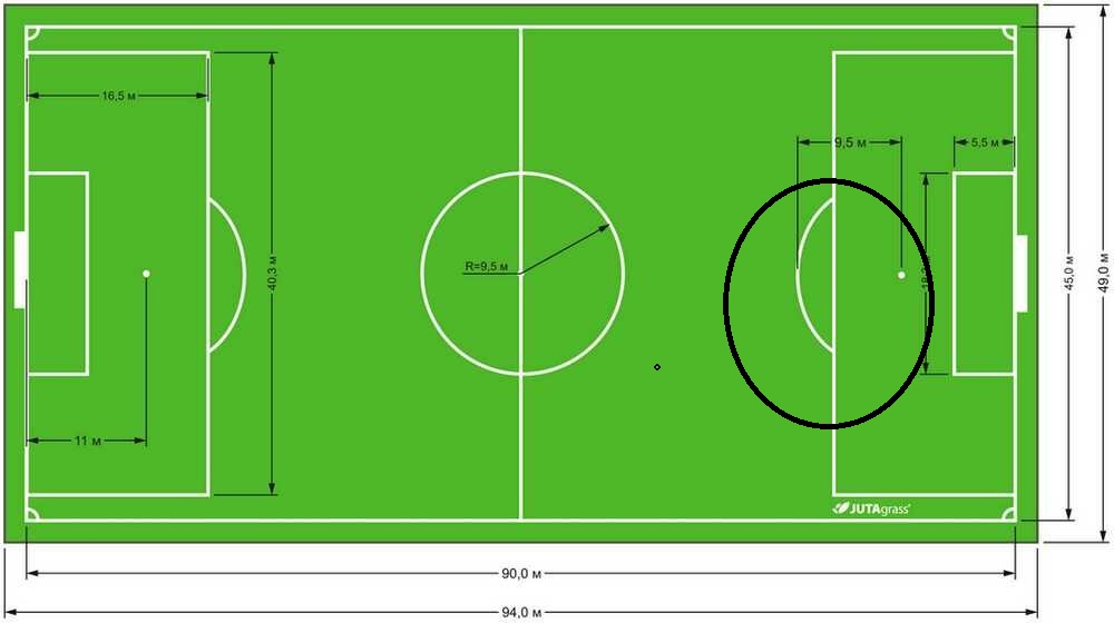 14.Какая зона обозначена  на поле(черный круг)