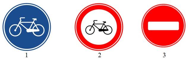 На картинке изображены дорожные знаки. Какой из них означает запрет на движение велосипедов?
