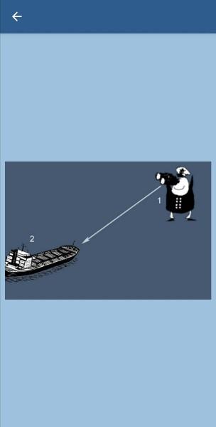 29.Укажите, какие огни может увидеть наблюдатель (1) на судне (2) в тмное время суток в условиях хорошей видимости и взаимного расположения судов, указанного на рисунке. Судно (2) длиной 125 м на ходу