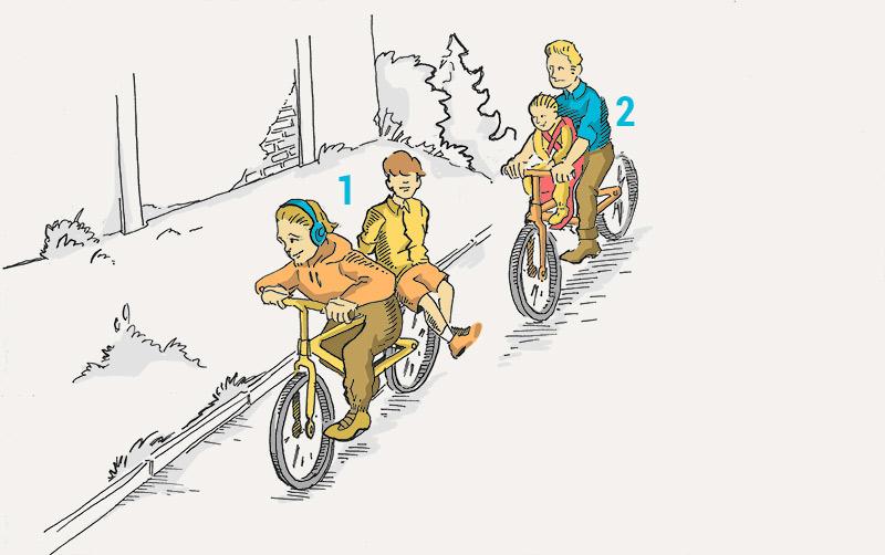 Кто из велосипедистов нарушает Правила при перевозке пассажиров?