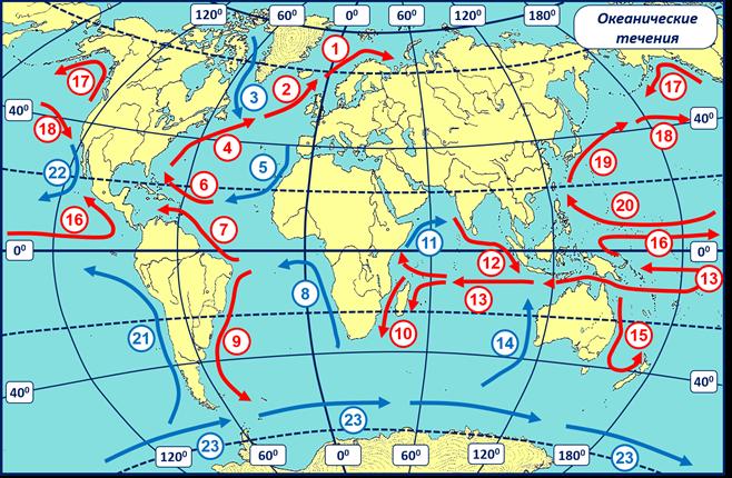 Какой цифрой на карте обозначено Бразильское течение
