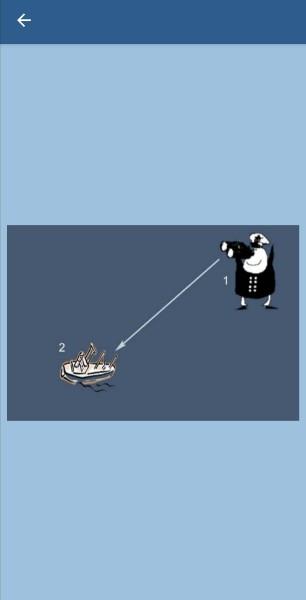 30.Укажите, какие огни может увидеть наблюдатель (1) на судне (2) в тмное время суток в условиях хорошей видимости и взаимного расположения судов, указанного на рисунке. Судно (2) длиной 40 м на ходу