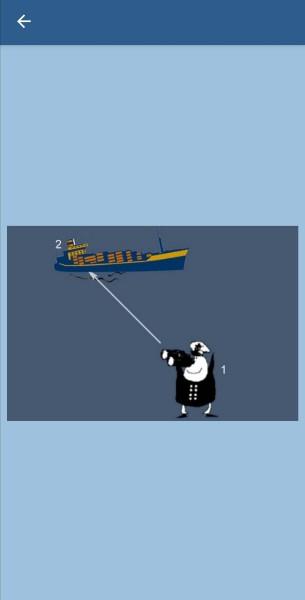 32.Укажите, какие огни может увидеть наблюдатель (1) на судне (2) в тмное время суток в условиях хорошей видимости и взаимного расположения судов, указанного на рисунке. Судно (2) длиной 125 м на ходу