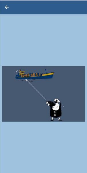 31.Укажите, какие огни может увидеть наблюдатель (1) на судне (2) в тмное время суток в условиях хорошей видимости и взаимного расположения судов, указанного на рисунке. Судно (2) длиной 125 м на якоре