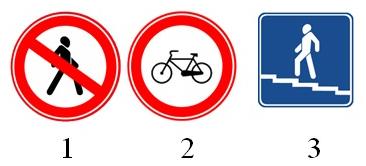 На картинке изображены дорожные знаки. Какой из них означает, что движение для пешеходов запрещено?