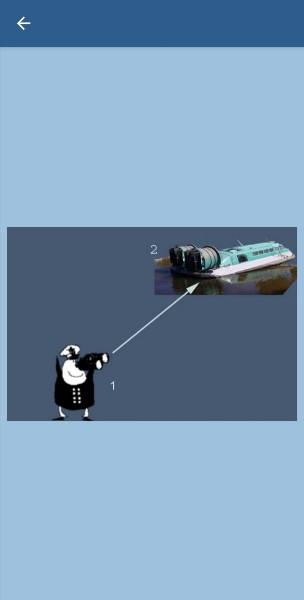 25. Укажите, какие огни может увидеть наблюдатель (1) на судне (2) в тмное время суток в условиях хорошей видимости и взаимного расположения судов, указанного на рисунке. Судно (2) на воздушной подушке на ходу вневодоизмещающем состоянии