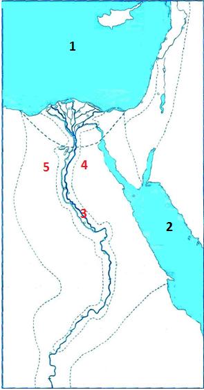 Рассмотри карту. Какой цифрой на карте Древнего Египта обозначено Красное море?