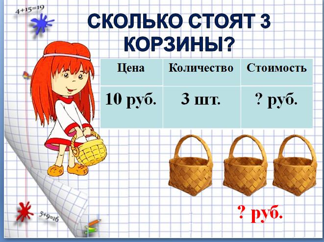 7. Сколько стоит 3 корзины?