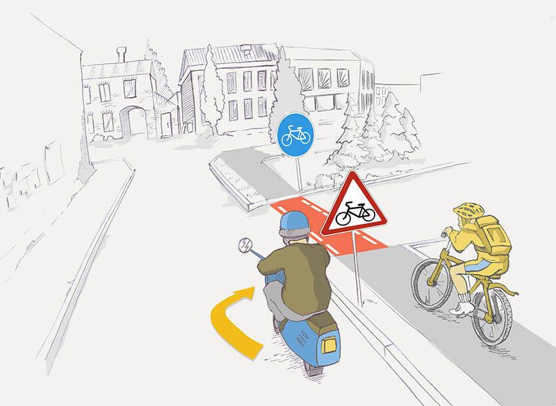 Кто имеет преимущество при проезде пересечения с велосипедной дорожкой?
