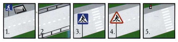 На картинке изображена ситуация. В каком участке проезжей части пешеходам разрешается переходить дорогу?